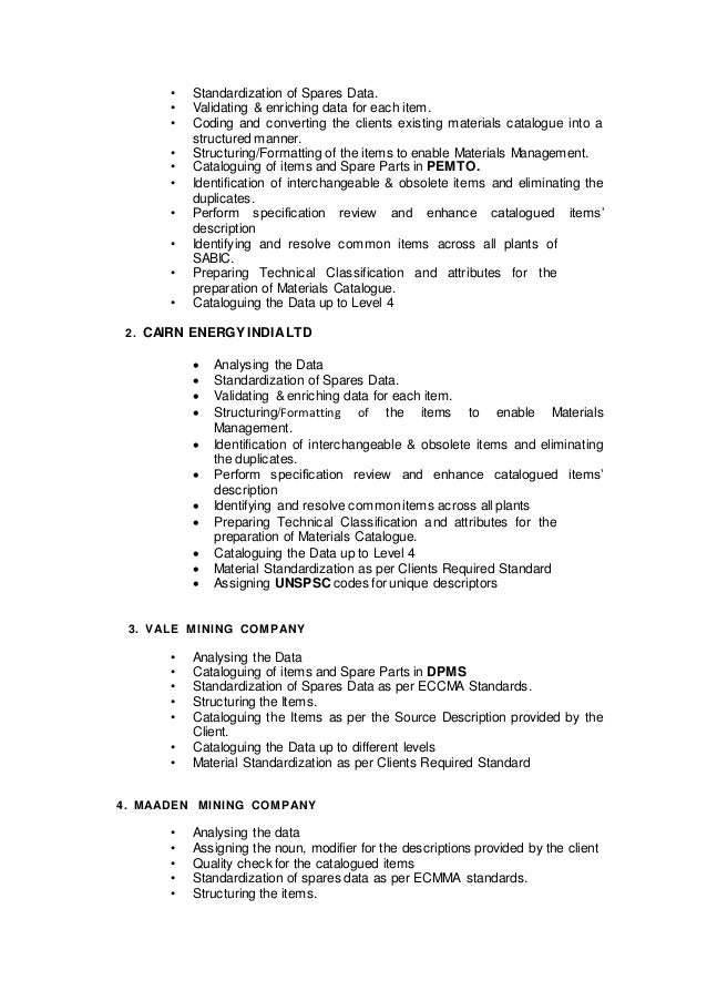 Material Master Data Management Resume .  Data Management Resume