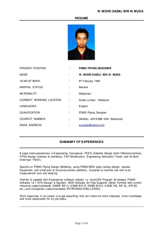 Awesome Pdms Piping Designer Resume Sample Gallery Simple Resume
