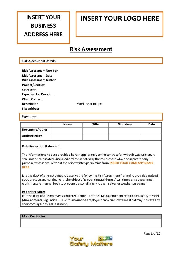 Page 1 Of 10 Risk Assessment Risk AssessmentNumber Risk AssessmentDate Risk  AssessmentAuthor Project/Contract Start ...