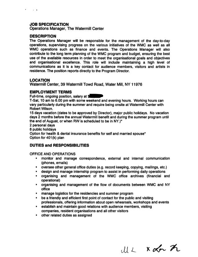 operations manager job specification