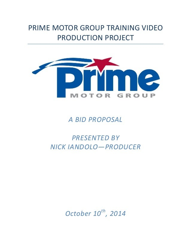 Prime Motor Group >> Prime Video Project Bid Proposal