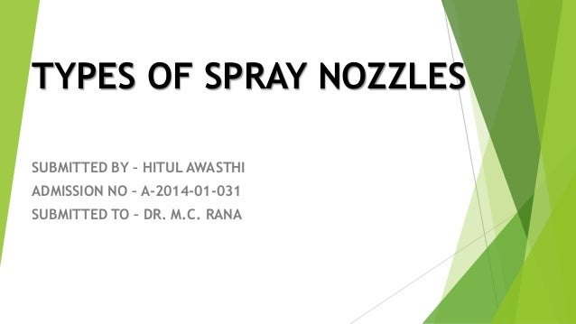 Submitted by- HITUL AWASTHI Types of Spray Nozzles