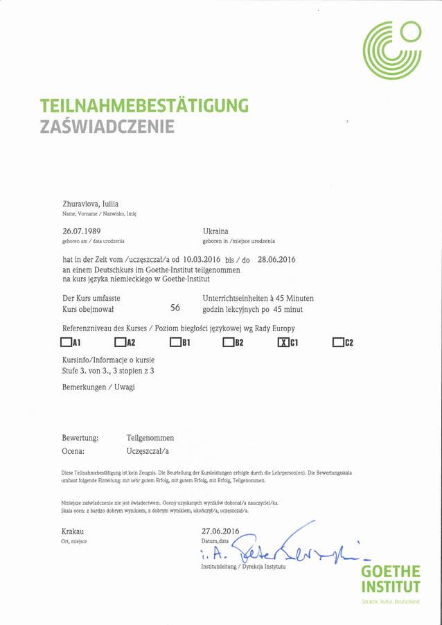 Goethe-Institut Deutsch Zertifikat