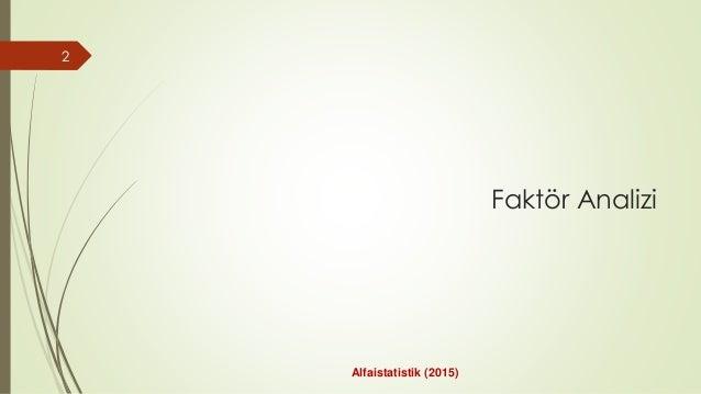 Faktör Analizi 2 Alfaistatistik (2015)