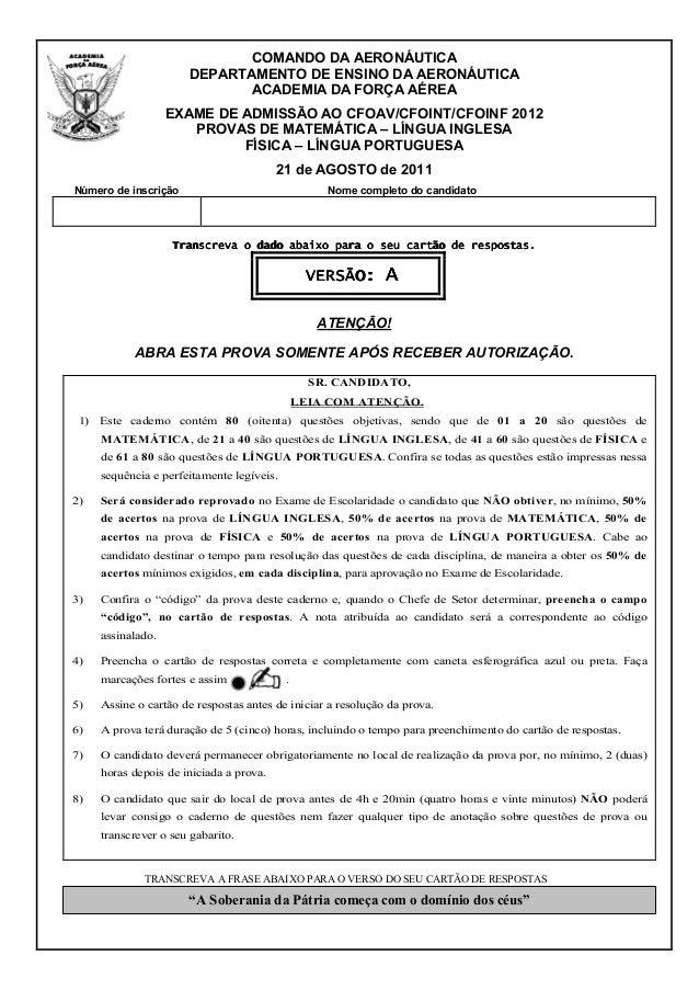 COMANDO DA AERONÁUTICA                       DEPARTAMENTO DE ENSINO DA AERONÁUTICA                              ACADEMIA D...