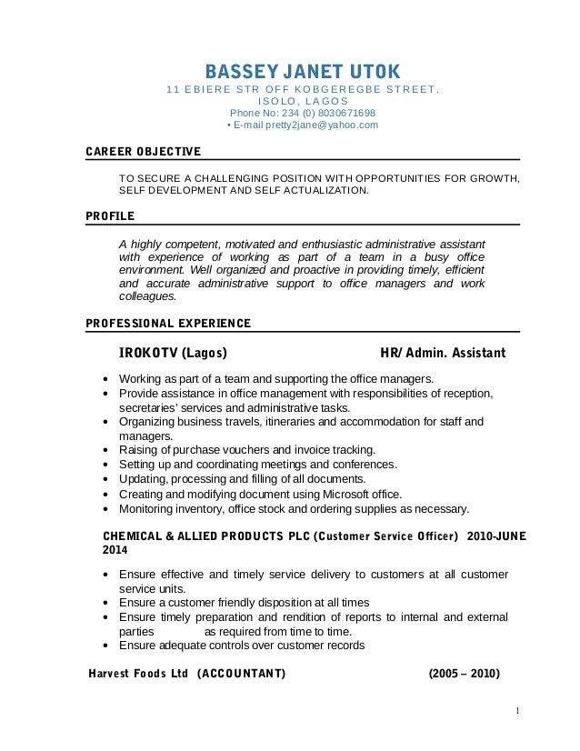 administrative assistant cv 2016