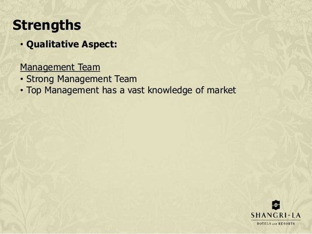 shangri la traders hotel swot analysis The brandguide table above concludes the shangri la hotels and resorts swot analysis along with its marketing and brand parameters similar analysis has also been done for the competitors of the company belonging to the same category, sector or industry.