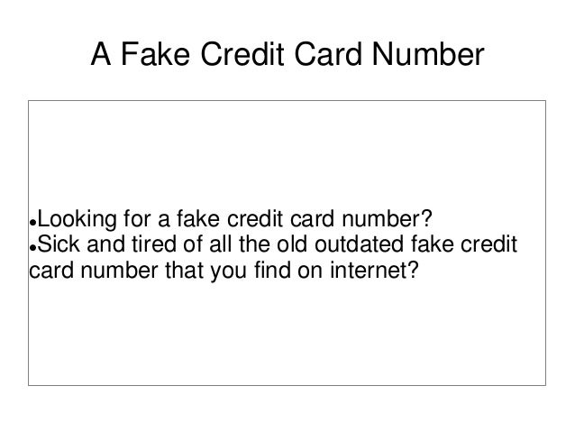 A fake credit card number
