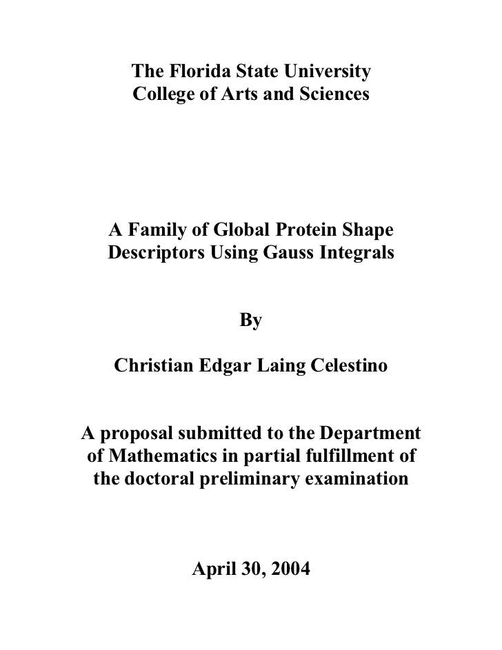 The Florida State University     College of Arts and Sciences   A Family of Global Protein Shape   Descriptors Using Gauss...