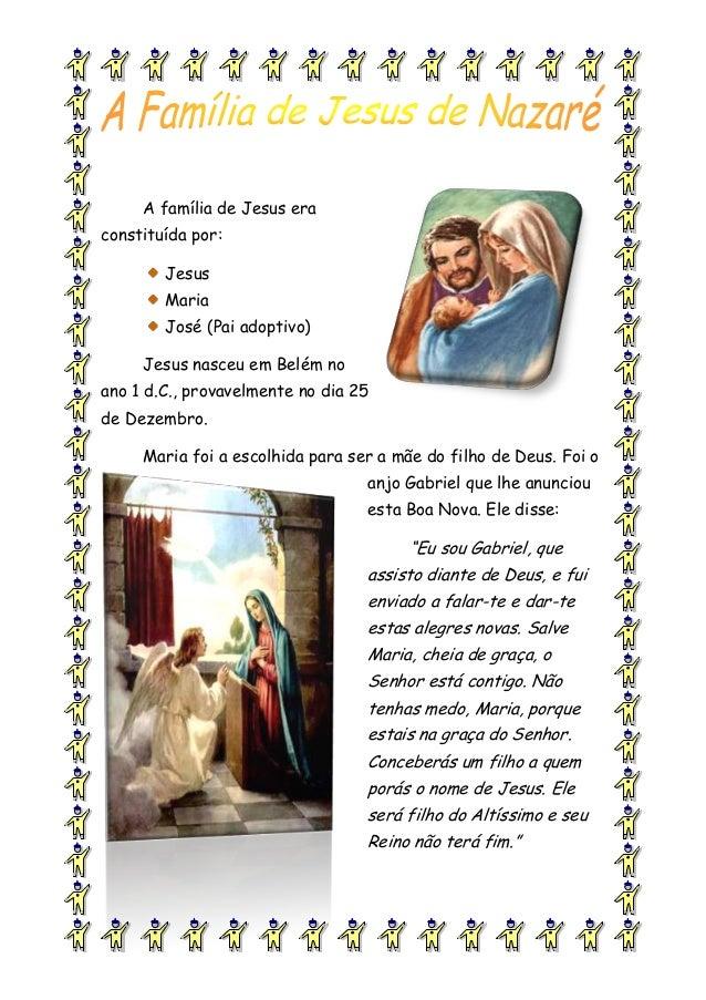 A família de Jesus eraconstituída por:JesusMariaJosé (Pai adoptivo)Jesus nasceu em Belém noano 1 d.C., provavelmente no di...