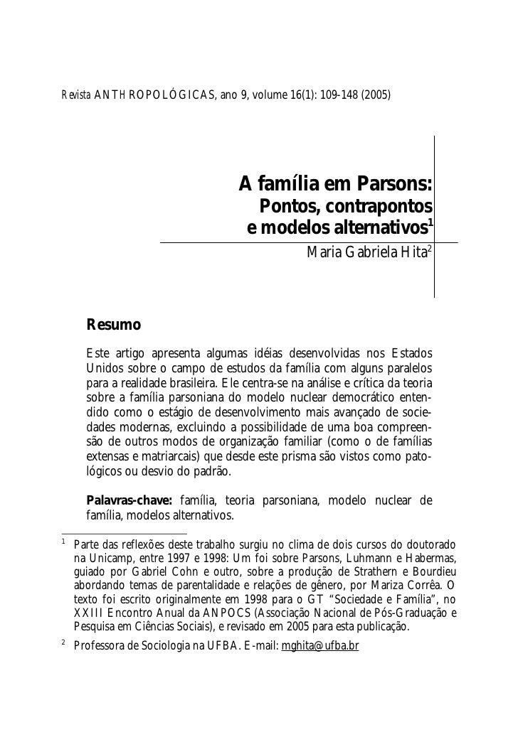 Revista ANTHROPOLÓGICAS, ano 9, volume 16(1): 109-148 (2005)                                           A família em Parson...