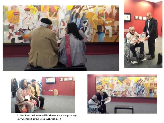 Artists Raza and Anjolie Ela Menon view the painting- Far Afternoon at the Delhi Art Fair 2015