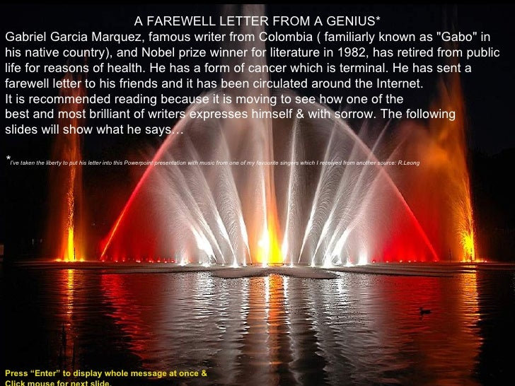 A farewell letter from a genius