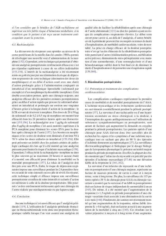 si l'on considère que le bénéfice de l'ALR-rachidienne est supérieur au très faible risque d'hématome médullaire, à la cond...