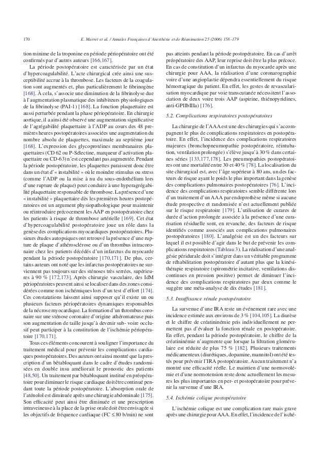 tion minime de la troponine en période périopératoire ont été confirmés par d'autres auteurs [166,167]. La période postopér...