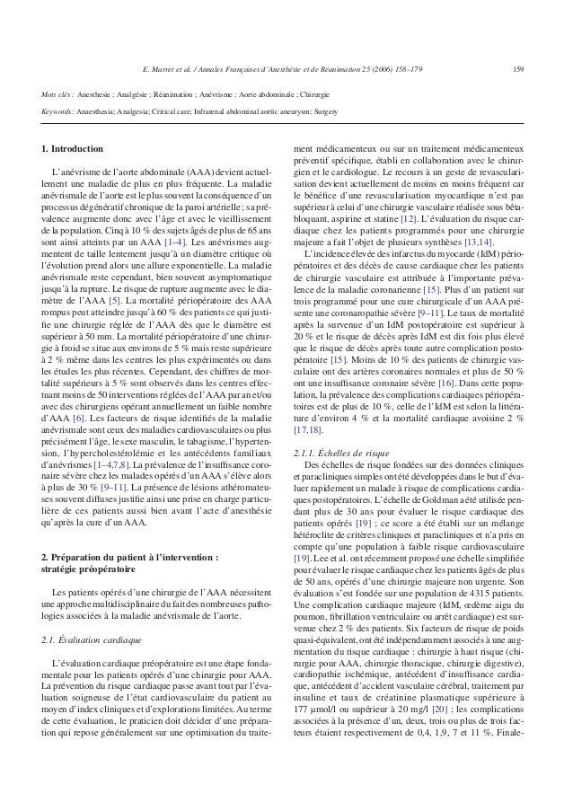 Mots clés : Anesthesie ; Analgésie ; Réanimation ; Anévrisme ; Aorte abdominale ; Chirurgie Keywords: Anaesthesia; Analges...