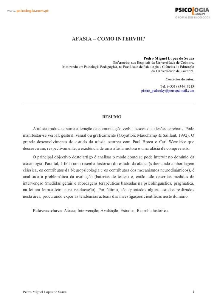 www.psicologia.com.pt                                      AFASIA – COMO INTERVIR?                                        ...