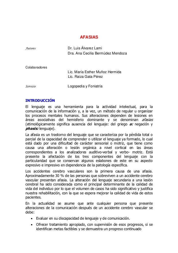 AFASIASAutores                       Dr. Luis Álvarez Lami                              Dra. Ana Cecilia Bermúdez MendozaC...