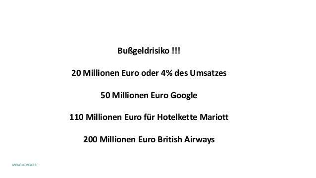 MENOLD BEZLER Bußgeldrisiko !!! 20 Millionen Euro oder 4% des Umsatzes 50 Millionen Euro Google 110 Millionen Euro für Hot...