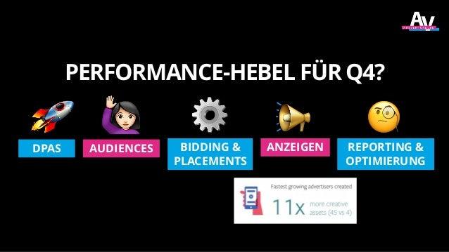 PERFORMANCE-HEBEL FÜR Q4? REPORTING & OPTIMIERUNG ANZEIGENBIDDING & PLACEMENTS DPAS AUDIENCES