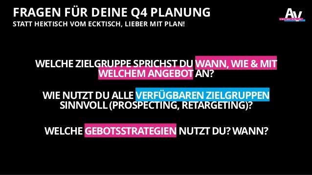 FRAGEN FÜR DEINE Q4 PLANUNG STATT HEKTISCH VOM ECKTISCH, LIEBER MIT PLAN! WELCHEZIELGRUPPESPRICHSTDUWANN,WIE&MIT WELCHEMAN...