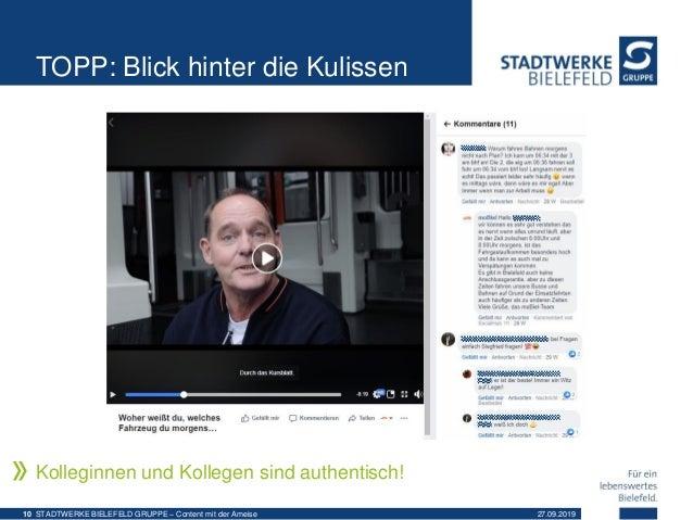 TOPP: Blick hinter die Kulissen Kolleginnen und Kollegen sind authentisch! 27.09.2019STADTWERKE BIELEFELD GRUPPE – Content...