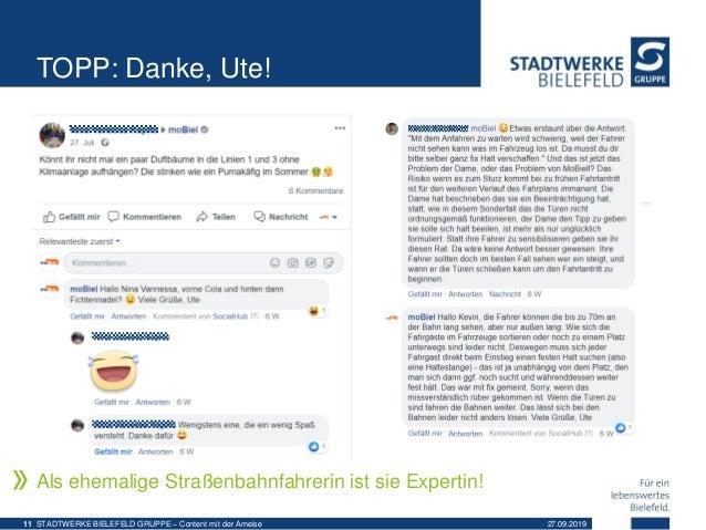 TOPP: Danke, Ute! Als ehemalige Straßenbahnfahrerin ist sie Expertin! 27.09.2019STADTWERKE BIELEFELD GRUPPE – Content mit ...