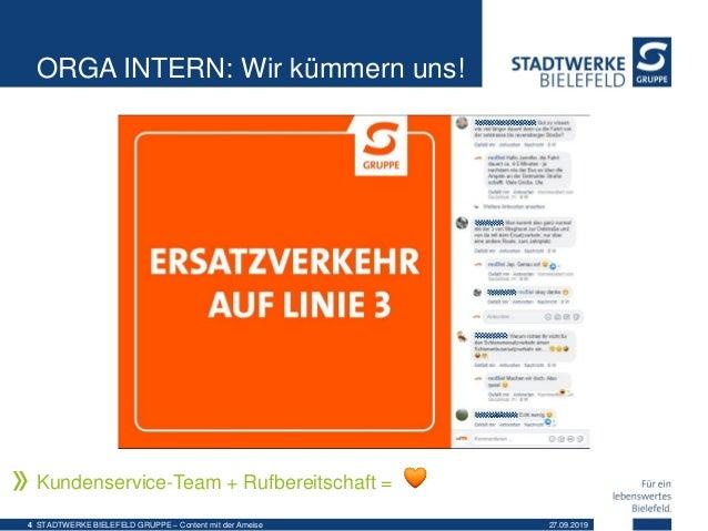 ORGA INTERN: Wir kümmern uns! Kundenservice-Team + Rufbereitschaft = 27.09.2019STADTWERKE BIELEFELD GRUPPE – Content mit d...