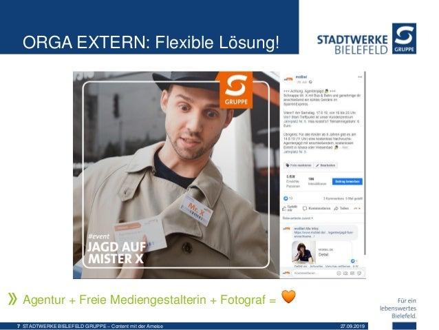 ORGA EXTERN: Flexible Lösung! Agentur + Freie Mediengestalterin + Fotograf = 27.09.2019STADTWERKE BIELEFELD GRUPPE – Conte...