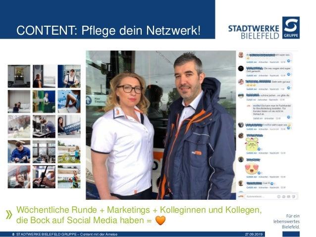 CONTENT: Pflege dein Netzwerk! Wöchentliche Runde + Marketings + Kolleginnen und Kollegen, die Bock auf Social Media haben...