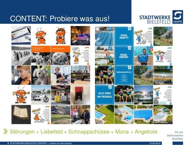 CONTENT: Probiere was aus! Störungen + Liebefeld + Schnappschüsse + Mona + Angebote 27.09.2019STADTWERKE BIELEFELD GRUPPE ...