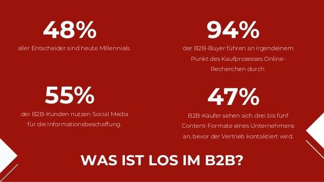 WAS IST LOS IM B2B? aller Entscheider sind heute Millennials 48% der B2B-Kunden nutzen Social Media für die Informationsbe...