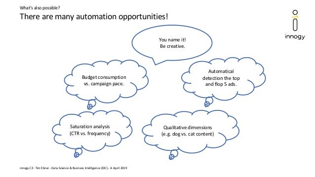 There are many automation opportunities! innogy.C3 · Tim Ebner - Data Science & Business Intelligence (IDC) - 4. April 201...