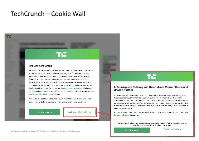 AllFacebook Advance · Power FB Pixel with Google Tag Manager · Rahul Agarwal TechCrunch – Cookie Wall