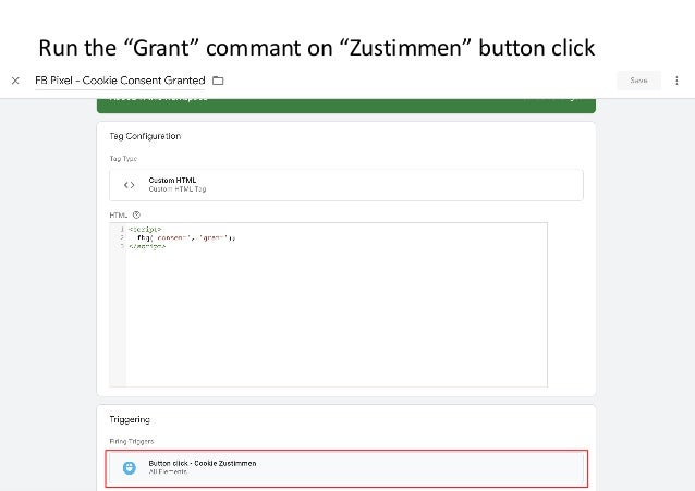 """AllFacebook Advance · Power FB Pixel with Google Tag Manager · Rahul Agarwal Run the """"Grant"""" commant on """"Zustimmen"""" button..."""