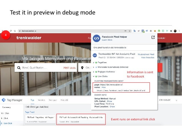 AllFacebook Advance · Power FB Pixel with Google Tag Manager · Rahul Agarwal Test it in preview in debug mode Event runs o...