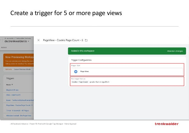 AllFacebook Advance · Power FB Pixel with Google Tag Manager · Rahul Agarwal Create a trigger for 5 or more page views
