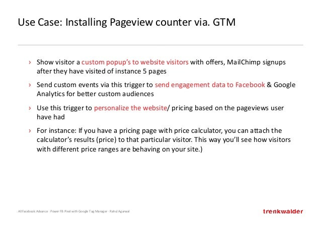 AllFacebook Advance · Power FB Pixel with Google Tag Manager · Rahul Agarwal Use Case: Installing Pageview counter via. GT...