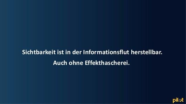 Hamburg Sichtbarkeit ist in der Informationsflut herstellbar. Auch ohne Effekthascherei.
