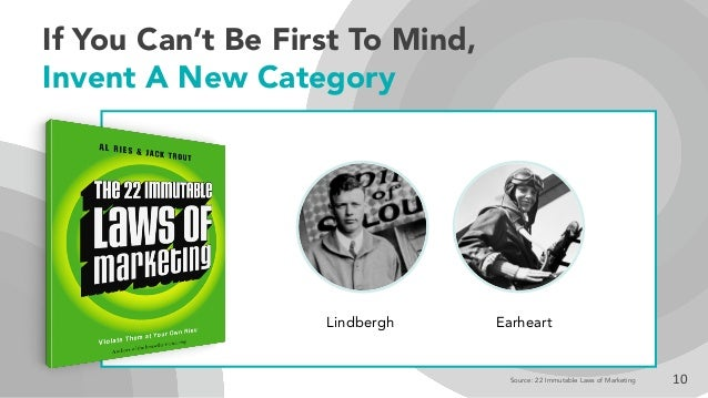 If You Can't Be First To Mind, Invent A New Category 10 Lindbergh Earheart Source: 22 Immutable Laws of Marketing