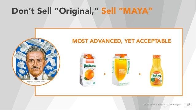 "Don't Sell ""Original,"" Sell ""MAYA"" 16Source: Raymond Loewy, ""MAYA Principle"" MOST ADVANCED, YET ACCEPTABLE"