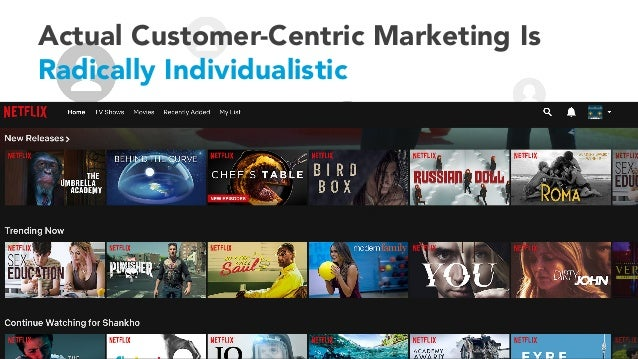"""Actual Customer-Centric Marketing Is Radically Individualistic 4Source: Netflix Blog On """"Artwork Personalization"""""""