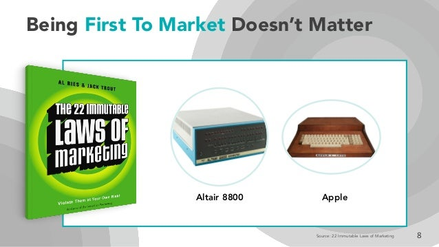 Being First To Market Doesn't Matter 8Source: 22 Immutable Laws of Marketing Altair 8800 Apple