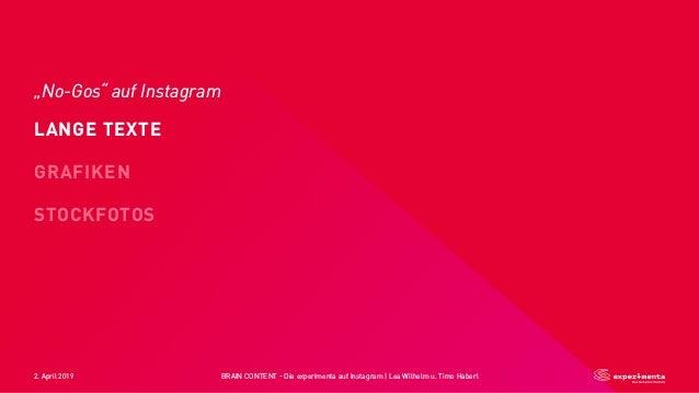 "2. April 2019 BRAIN CONTENT - Die experimenta auf Instagram   Lea Wilhelm u. Timo Haberl ""No-Gos"" auf Instagram ☝ LANGE TE..."