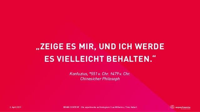 """2. April 2019 BRAIN CONTENT - Die experimenta auf Instagram   Lea Wilhelm u. Timo Haberl """"ZEIGE ES MIR, UND ICH WERDE ES V..."""