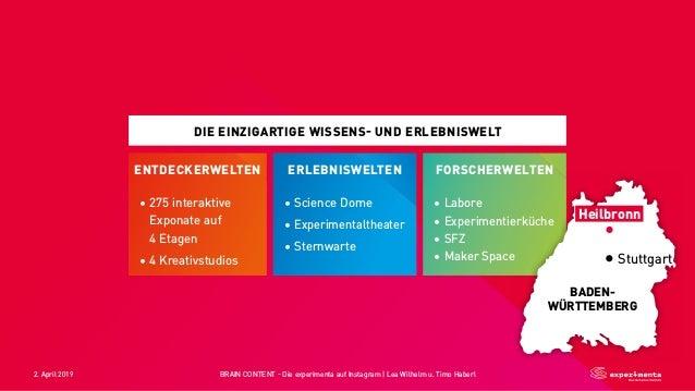 2. April 2019 BRAIN CONTENT - Die experimenta auf Instagram   Lea Wilhelm u. Timo Haberl DIE EINZIGARTIGE WISSENS- UND ERL...