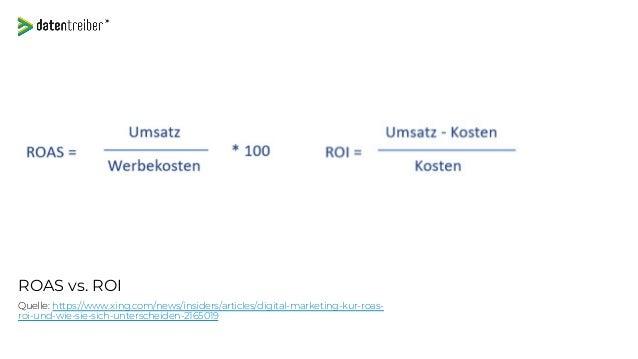 ROAS vs. ROI Quelle: https://www.xing.com/news/insiders/articles/digital-marketing-kur-roas- roi-und-wie-sie-sich-untersch...