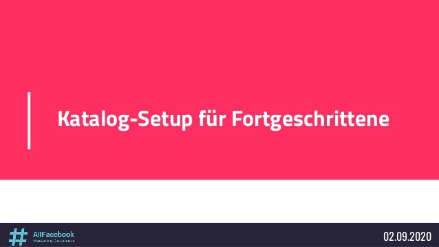 Katalog-Setup für Fortgeschrittene 02.09.2020