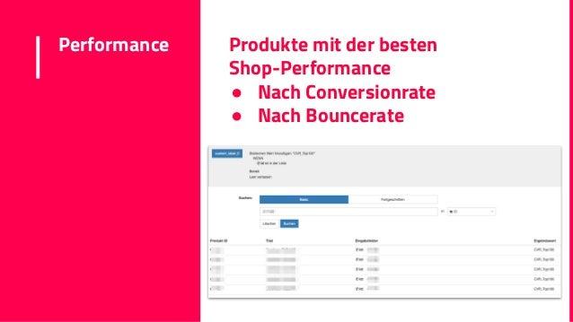 Performance Produkte mit der besten Shop-Performance ● Nach Conversionrate ● Nach Bouncerate