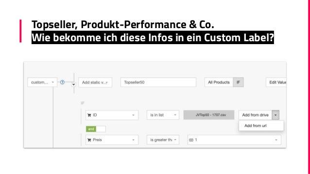 Topseller, Produkt-Performance & Co. Wie bekomme ich diese Infos in ein Custom Label?